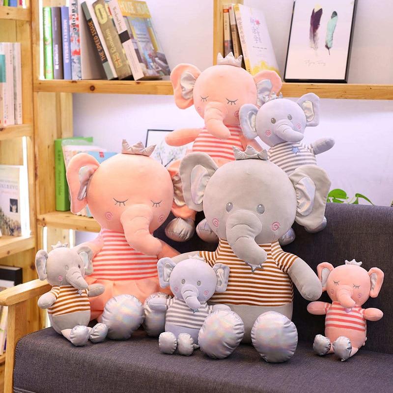 Cute Cartoon Crown Elephant Plush Toys Stuffed Animal Small Doll Toy Children Girls Birthday Gift