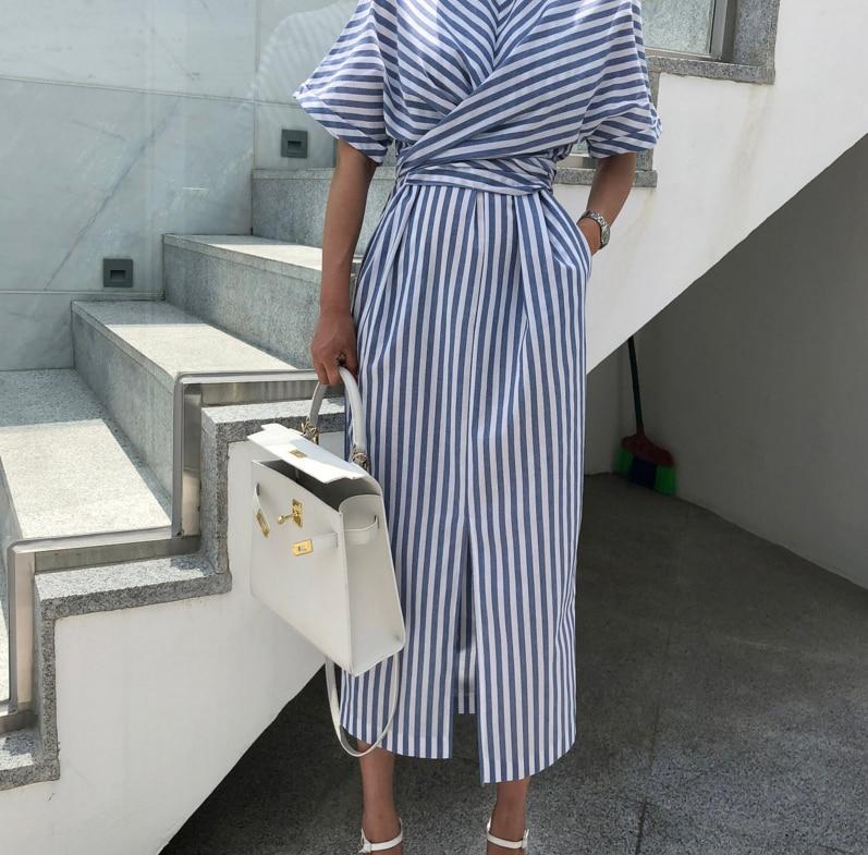 Korean Women Summer Cotton Blue Striped Bandage Split Long Dress Female Long Bodycon Plus Size Vestido Robe Femme Ete Sukienki 5
