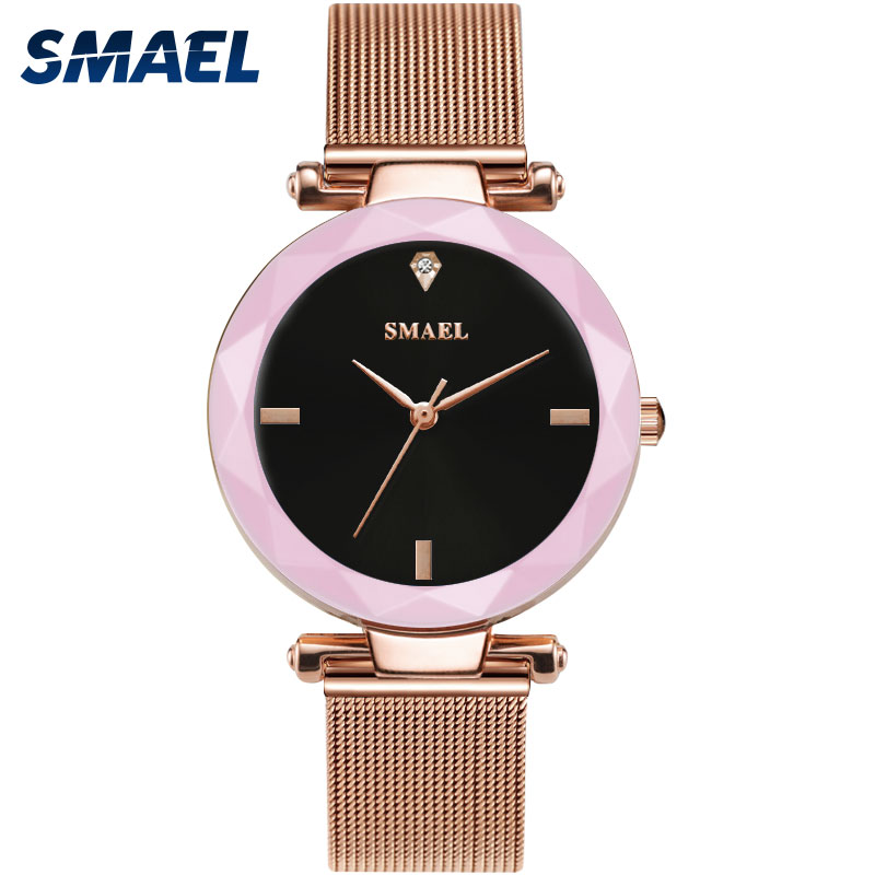 SMAEL Quartz Watches Women Fashion Casual Crystal Stones Quartz Watches Ladies clock 1898 Woman Watches Waterproof Luxury Brand