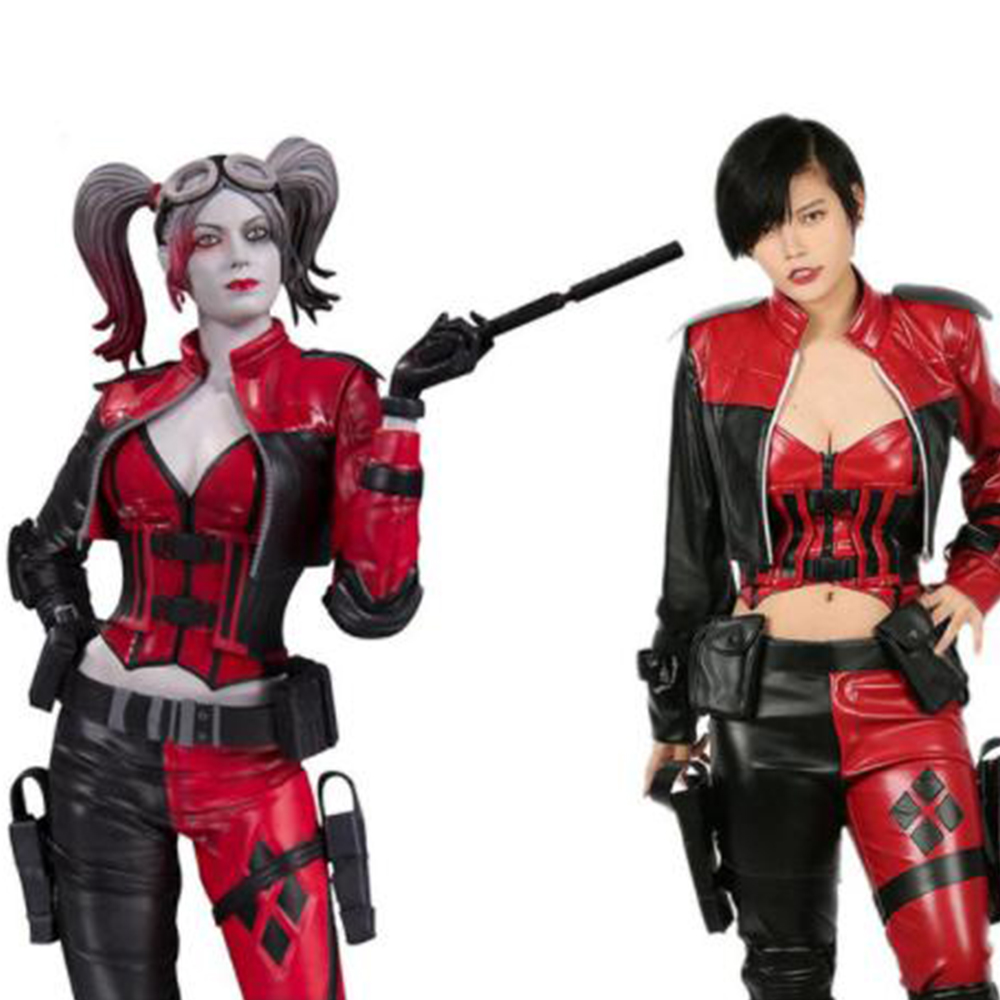 X-COSTUME Harley Quinn Injustice 2 Cosplay Suit Sexy Lady PU Leather Full High Quality Outfits Halloween Costume For Women Adult
