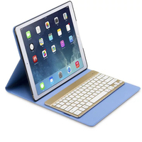 Luxury PU Leather Smart Case Cover Slim Removable 7 Colors LED Backlight Aluminum Bluetooth Keyboard For