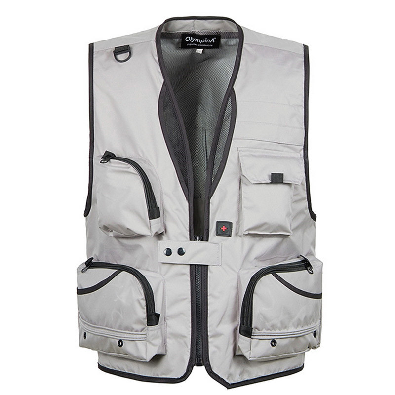 5 XL Big Size Men Summer Camping Fishing Mesh Breathable Vest Tops Outdoor Climbing Hunting Multi Pockets Photography Waistcoat