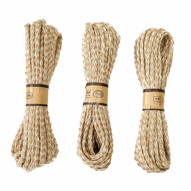 d33672aa8073 10M 6mm Manual Double color strand woven burlap Rope Natural Jute rope  Twine String Cord Hemp Rope for DIY garden Wrap craft Dec