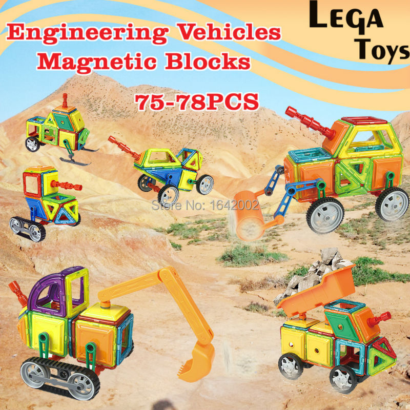 Magnetic Building Block Set Enlighten Magnet Block Excavator Model kits Engineering Assemble Bricks Robot Models Children Toy 196pcs building blocks urban engineering team excavator modeling design