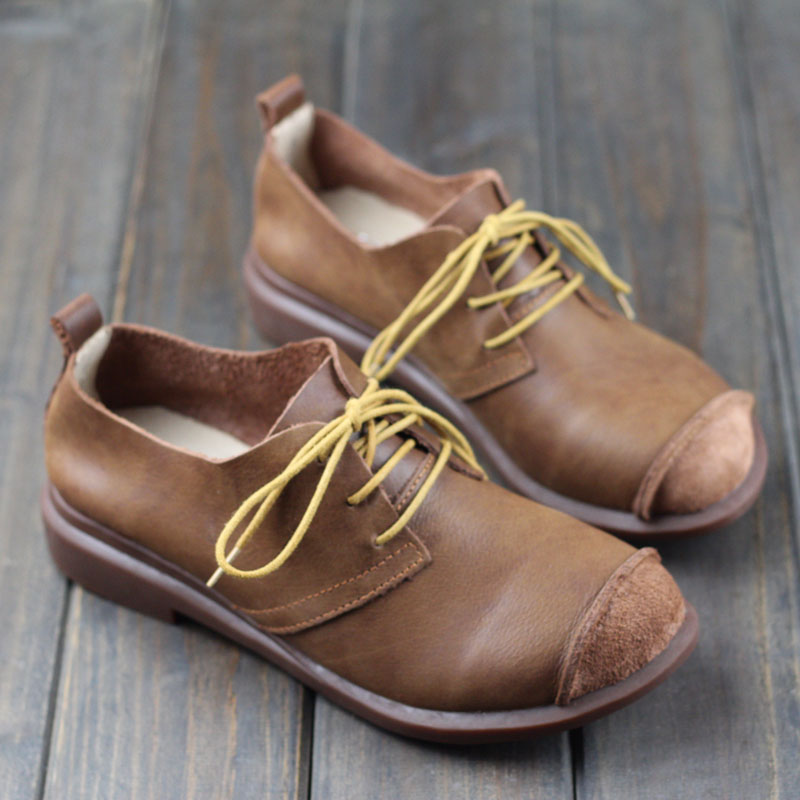 Women Shoes Spring/Autumn Genuine Leather Flat Shoes Round toe Lace up Flats Ladies Moccasins 2016 Fashion Footwear  (0386-9)