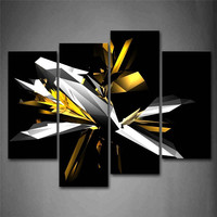Abstract Black And White Yellow 4 Panels Wall Art Canvas Paintings Wall Decorations For Artwork Giclee