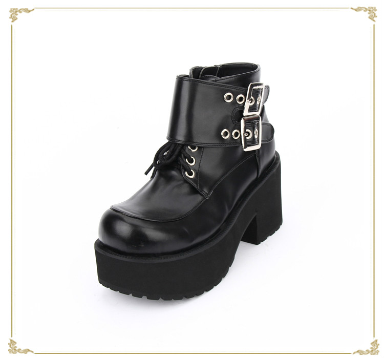 цена на Princess sweet punk shoes winter locomotive dark buckle round-toe lace-up thick muffin bottom high heel shoes pu8848