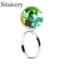 Sitaicery New Fashion Silver Womens Rings DIY Handmade Fresh Dried Flower Woman Best Gifts For Women