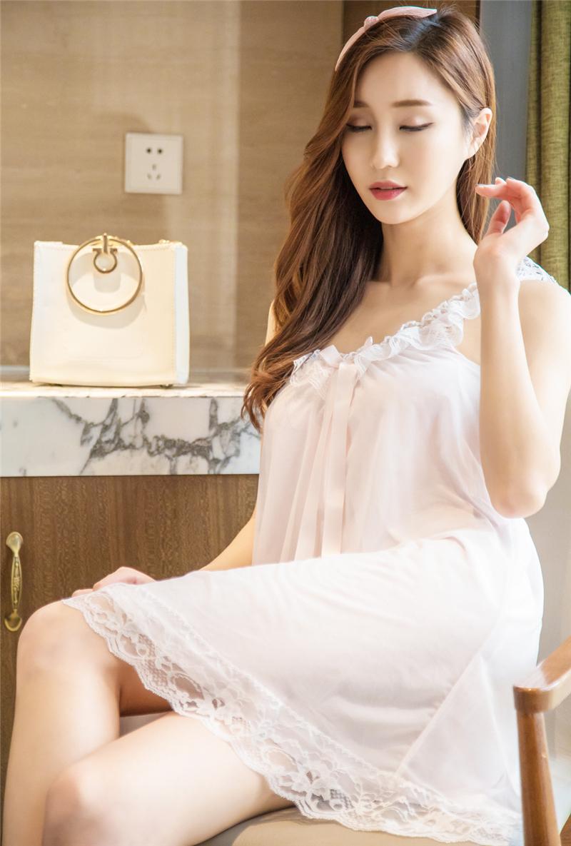 4cb236bc3a Nightgowns Sleepshirts 2018 Lace Sleepwear Sexy Home Dress Spaghetti ...