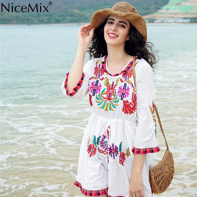 NiceMix Summer Chic Vintage Floral Embroidery Tassel Mini Dress 2019 Fashion Flare Sleeve Pleated Beach Dresses Femme Vestido