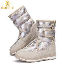Women's boots classic winter warm fur shoes sand beige boots mid calf style buckle easy waterproof upper thick plush insole good