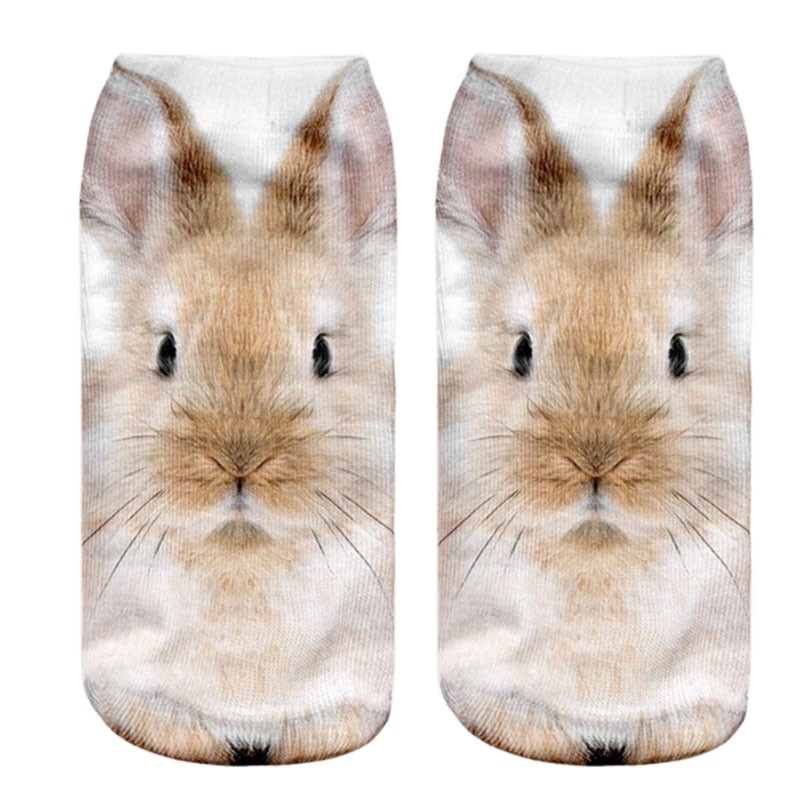 KLV Fashion Europe And The United States Cartoon 3 D Sock Slippers Harajuku Cute Rabbit Style Print Women Sock Slippers