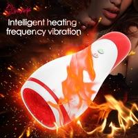 YAFEI Intelligent 10 speed Super Vibtation Heating Masturbator Cup Silicone Male Mouth Masturbation Vibrators Sex toys For Men