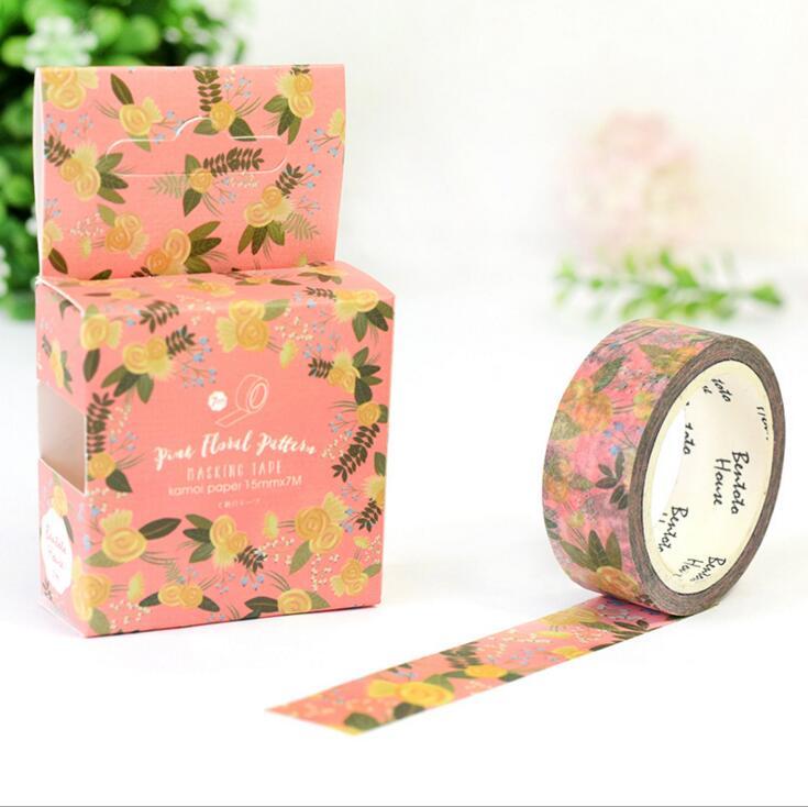 JA220 Pink Floral Pattern Decorative Washi Tape DIY Scrapbooking Masking Tape School Office Supply Escolar Papelaria