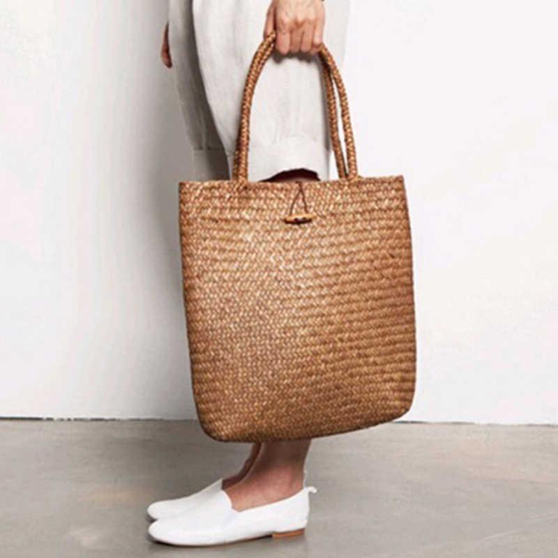 FGGS-женская сумка летняя пляжная сумка из ротанга плетеная ручная работа  вязаная соломенная большая емкость 061f4e44fc0