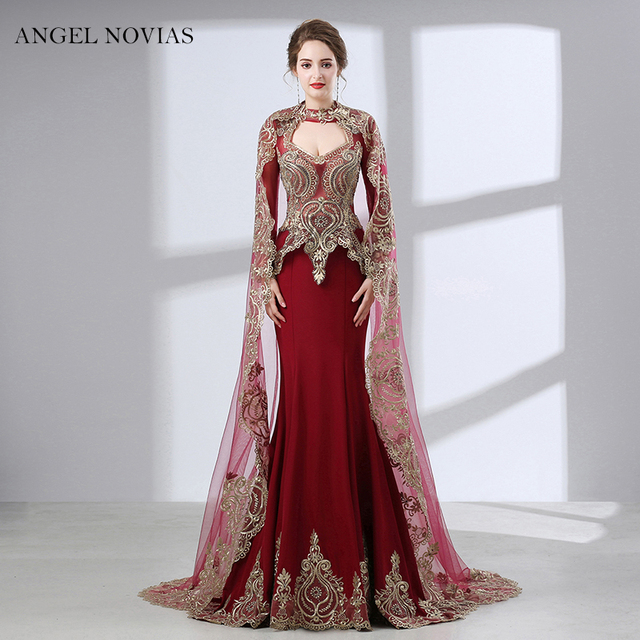 Long Sleeve Burgundy Evening Dress 2018 Arabic Dubai Formal Evening Gowns  Dresses with Cape robe longue manche longue d454e0805ad2