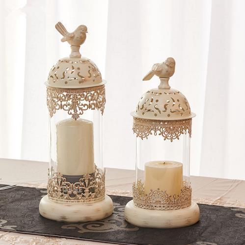 1 pçs birdcage ferro castiçal suporte de vela de vidro lanterna europa marroquino oco castiçal suporte casa decoração do casamento