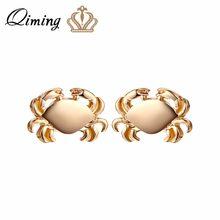 d46b0184ed0f QIMING plata cangrejo pendientes para las mujeres joyería cáncer Zodiaco  Animal Charm joyería océano inspirado Vintage oro regal.