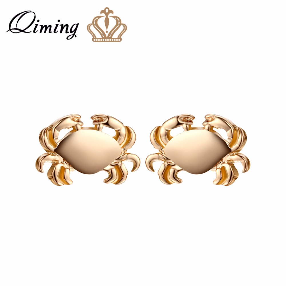 QIMING fashion Crab Earrings For Women Jewelry Cancer Zodiac Animal Charm Jewelry Ocean Inspired Vintage Gold Earrings Gift