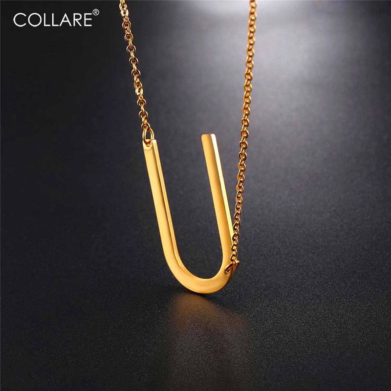 Collare Alfabet Choker Necklace Letter U Pendant Stainless Steel Gold/black Color Initial Jewelry Statement Necklace Women N027