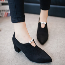 2016 Spring and autumn new high heels wild women with wild comfortable shoes with large pointed fashion women's casual shoes