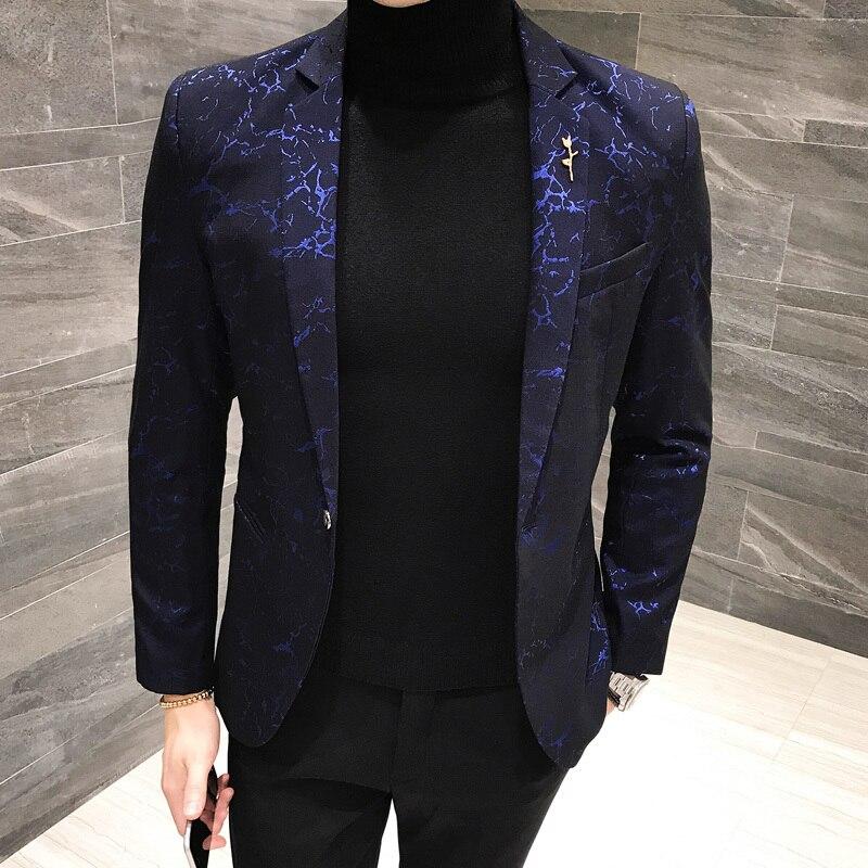 Shinny Blazer Hombre Casual Men Blazer Slim Fit Designer Pattern Suit Jacket Men Party Club Prom Blazer 4xl 5xl Black Blue Red