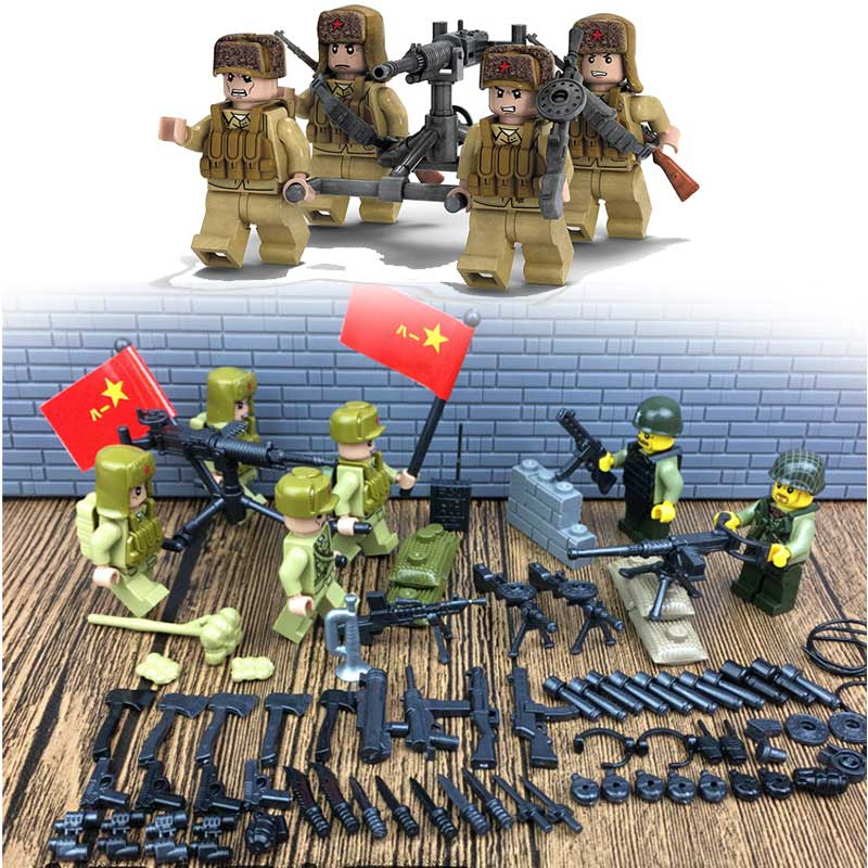 New Military War to Resist US Aggression and Aid Korea Scenes Bricks Mini People's Leberation Army Figures Building Block Toys