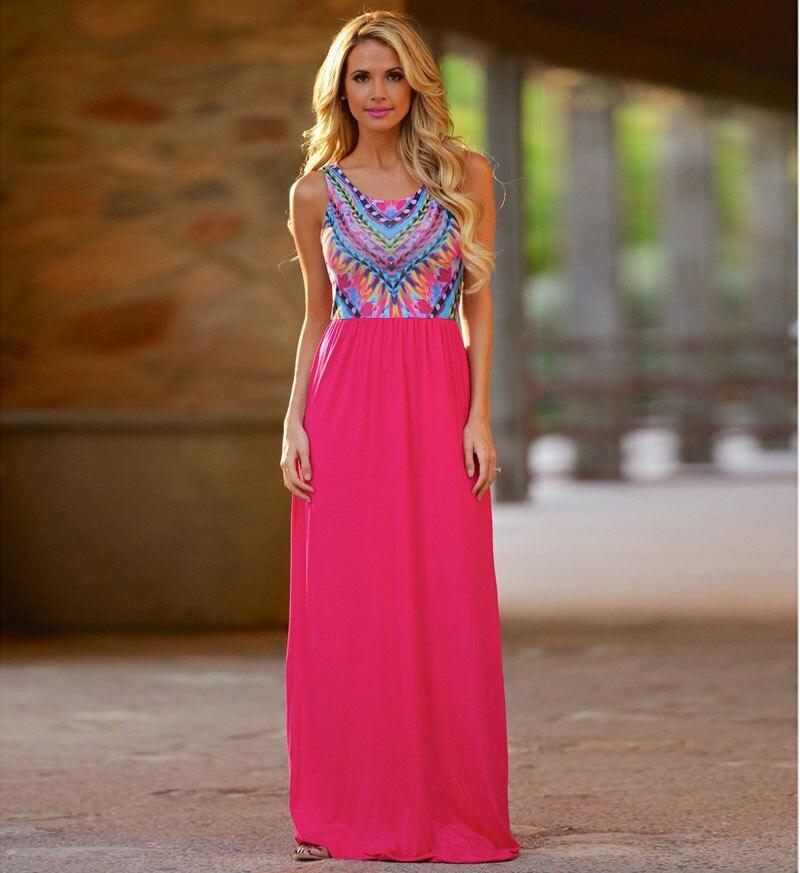 New 2016 Fashion Bohemia Style Summer Women Dress Vestidos Casual Print Sleeveless 2 Pieces Maxi Dress