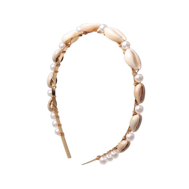 JUJIA Natural stone Hair band Simulated Pearl sea shells Hair Jewelry 3