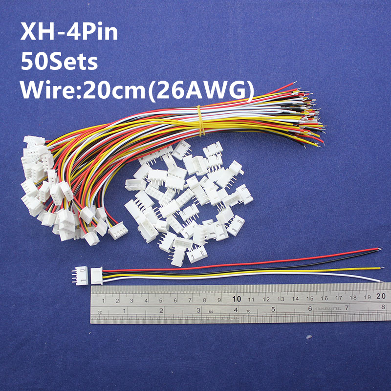 50 sets 4pin 2.54mm Pitch 20cm wire Pin Header / Housing /Terminal  Connector Wire Connectors Adaptor XH-4P Kits 50 sets kit in box 2p 3p 4 pin 2 54mm pitch terminal housing pin header connector wire connectors adaptor xh2p kits