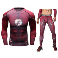 Mens Compression T Shirt Set Bodybuilding Tight Long Sleeves Shirts Leggings Suits MMA Crossfit Workout Fitness