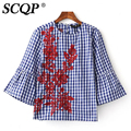 Elegant Blue And White Plaid Floral Embroidery Blouse Fashion Flare Sleeve O-Neck Ladies Blouses Half Sleeve Shirt Women Tops
