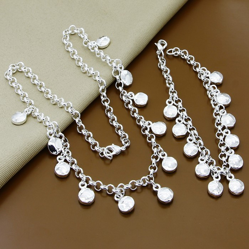 Silver Color Jewelry Sets Trendy Round Lentils Bracelets Necklaces for Women Wedding Party Jewelry