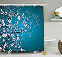 Teal Shower Curtain Pink Blossoms Decor by, Leaves and Plants Ombre Spring Japanese Sakura Flowers in Garden Park