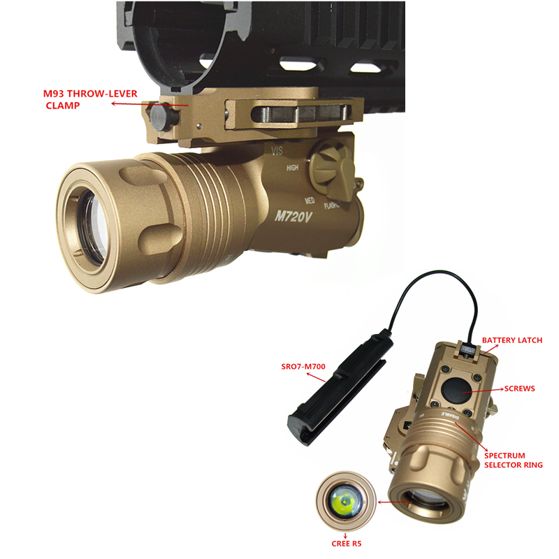 FIRECLUB M720V Tactical Flashlight Strobe Version CREE R5 400 Lumen Airsoft gun Flashlight Black Dark Earth