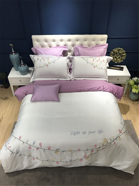 2017 New 4/7pcs Bedding Set Egyptian Cotton Bed Sheets Embroidery Duvet  Cover Home Textile