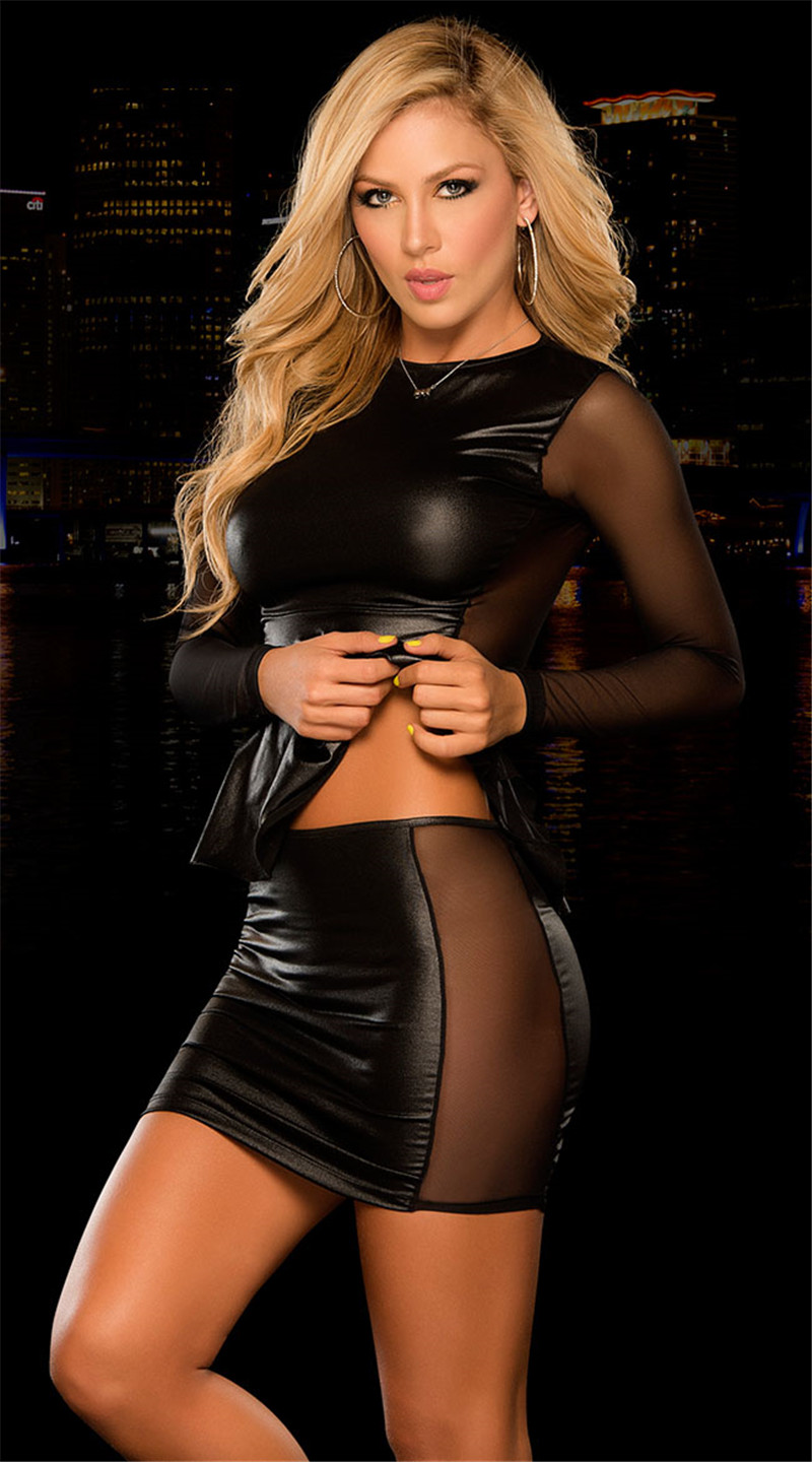2 Pieces/S Dress Set Women Wetlook Leather Set Office Wear Sexy Club Dresses Clothing Suit Dress Women's Set Top Dresses 6