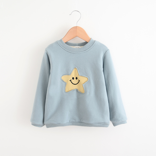 Girls 2016 Spring Autumn Full Sleeve Baby Hoodies Kids O-Neck Star Pattern Clothes Children Casual Fashion Clothing 5pcs/LOT