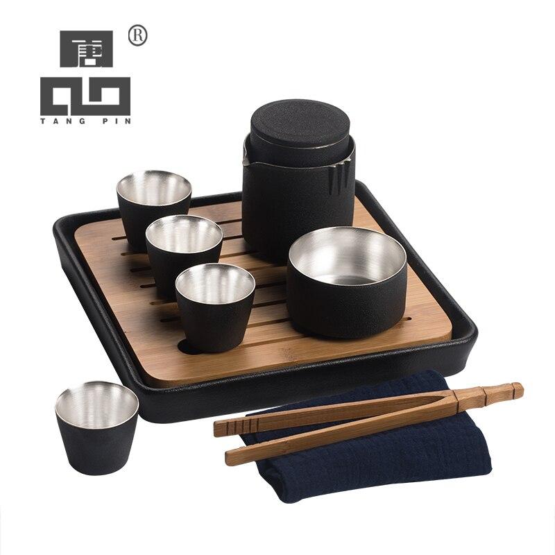 TANGPIN 999 silver and ceramic teapot teacups black a tea sets portable travel tea sets drinkware
