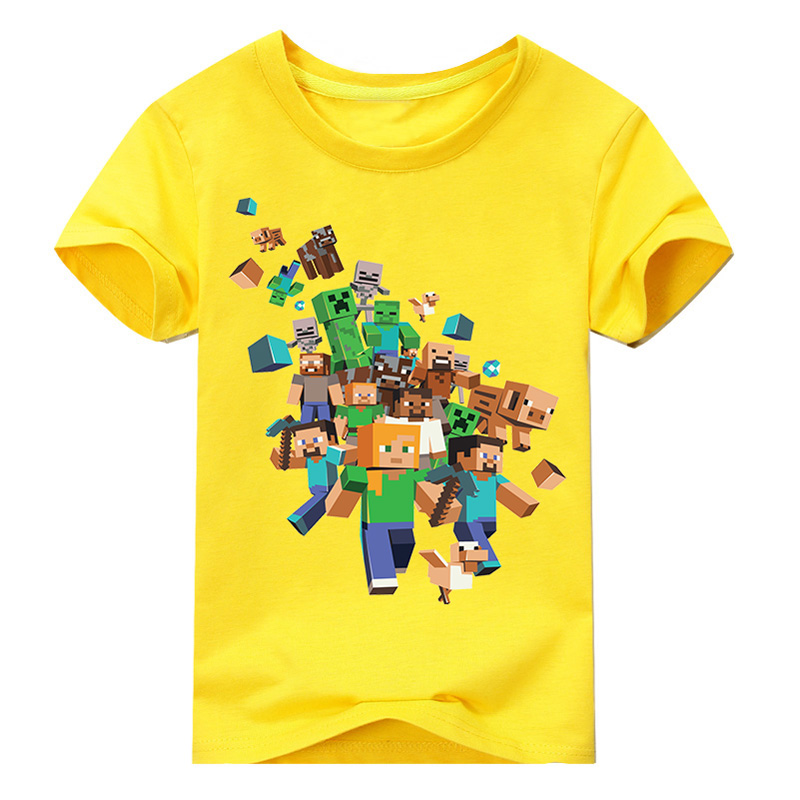 Cenicienta T-Shirts For Boy And girls Minecraft Print Kid Short Colorful Children Clothing Cotton Costume 2T 3T 4T 5T 6T 8T 12T