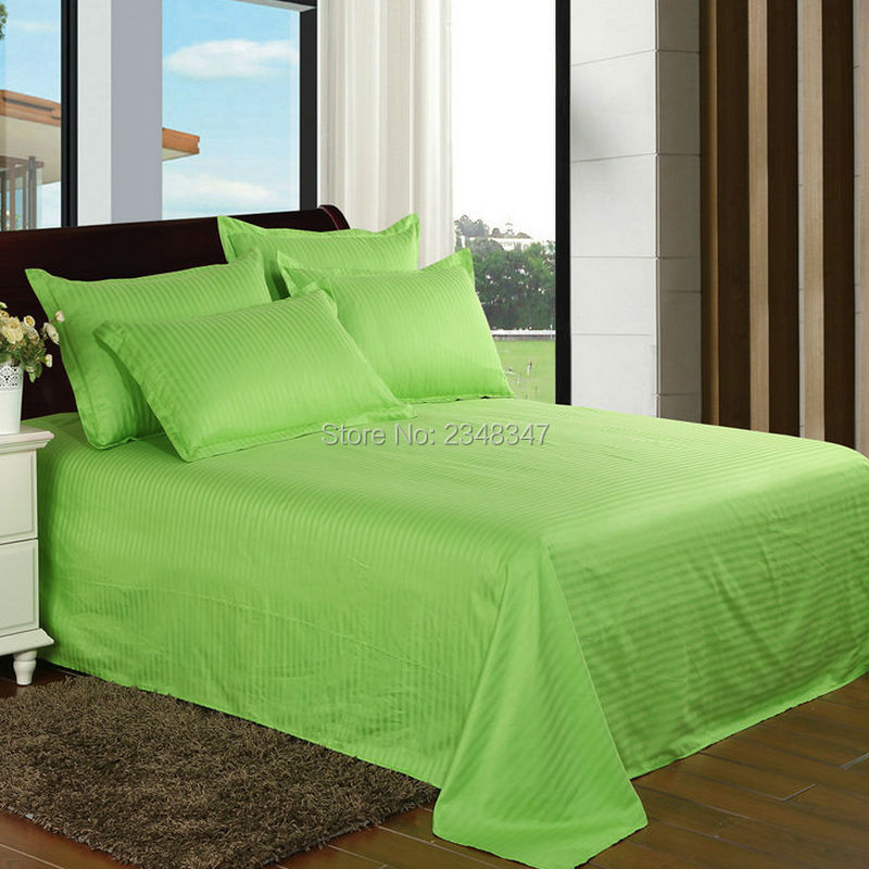 Quality Bright Green Cotton Hotel Home Satin Stripes Twin Full Queen King Size Flat Sheet Pillowcase Shams Set Bed Solid Color In From Garden
