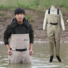 Rafting Wear Men's Chest Wader with Stocking foot, Waterproof and Breathable fly fishing wader