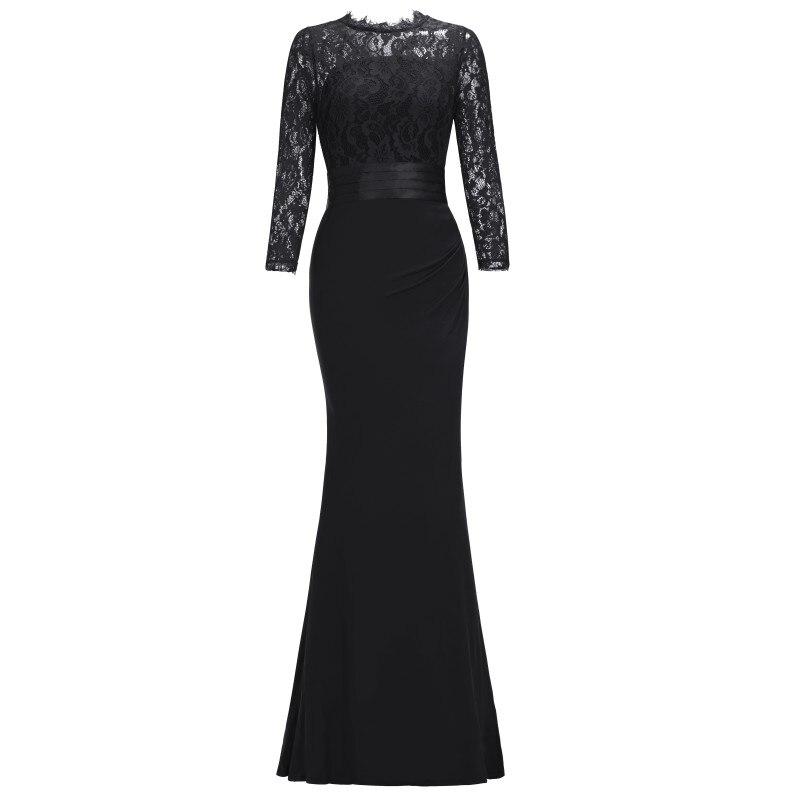 Элегантное длинное вечернее платье русалки с круглым вырезом и рукавом три четверти, вечернее платье, robe de soiree - Цвет: Black