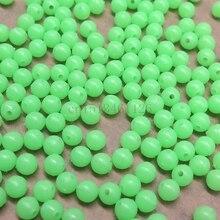 200 pcs floating fishing beads 6mm glowing plastic beads fishing floats light Olva/Round bulk beads Luminous for night fishing