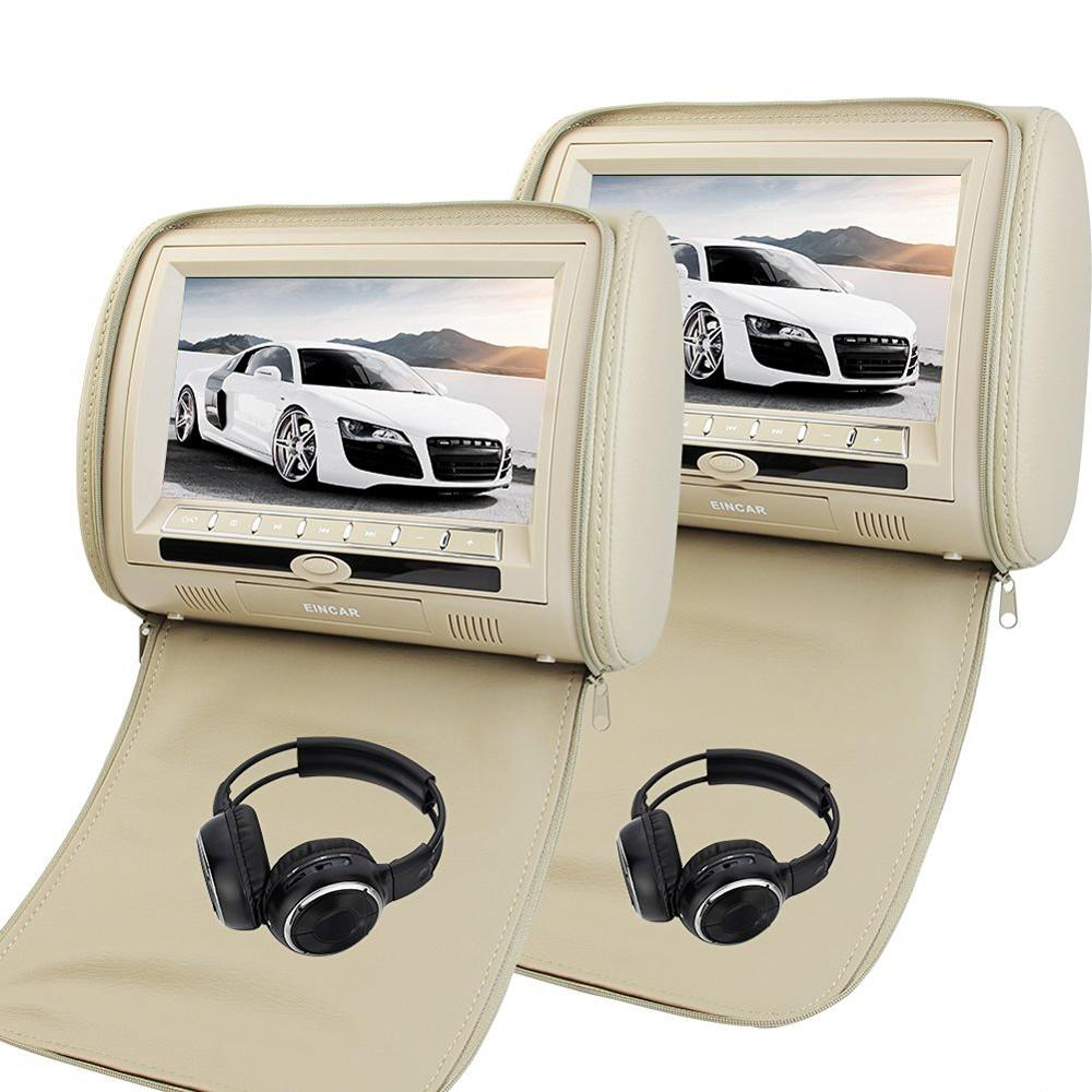 9 Inch Car Headrest DVD Player Monitor With 800*480 TFT LED Touch key Built-in Speaker Support USB HDMI Games Remote Control