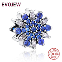 Authentic 100 925 Sterling Silver Dazzling Blue CZ Snowflake Charm Fit Original Pandora Bracelet Luxury Jewelry