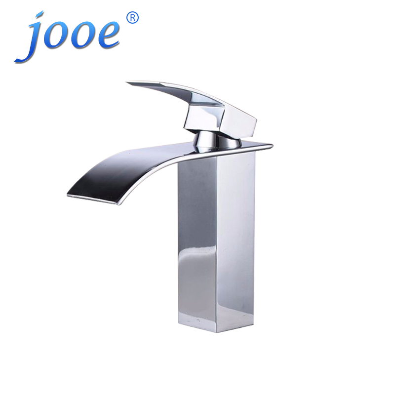 jooe waterfall basin faucets Contemporary high quality brass Hot and cold Mixer tap bathroom faucet torneira para banheiro xoxo antique brass finishing basin faucets single hand hot and cold washbasin mixer tap torneira banheiro 83003g