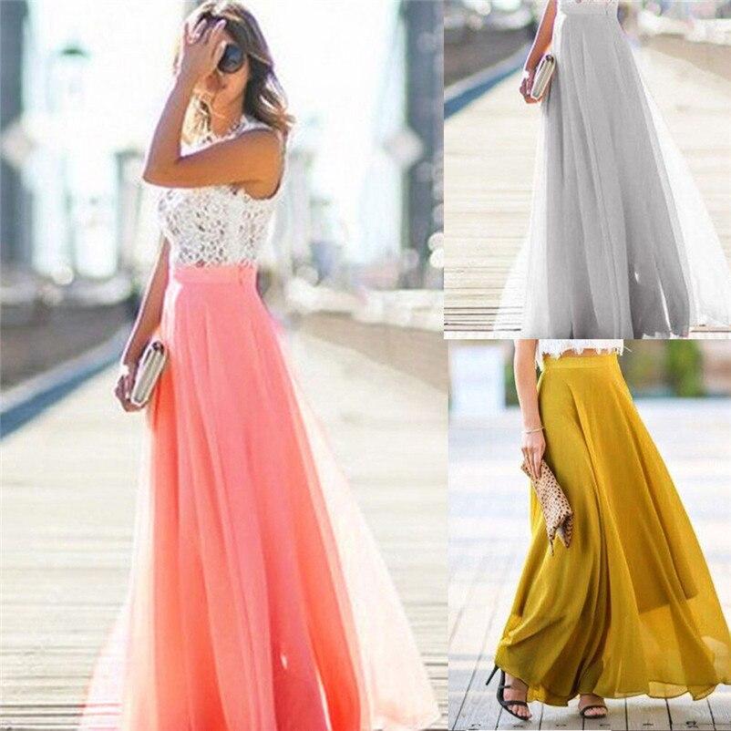 HOT sell Fashion 2018 Summer style skirts womens Chiffon Stretch High Waist Maxi Skater Flared Pleated Long Skirt Saia Y05#N (7)
