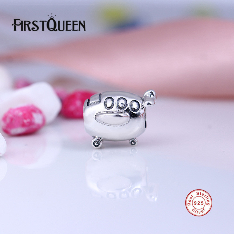 Firstqueen Genuine 100% 925 Sterling Silver Vintage Aeroplane Charm Beads Fit Original Bracelet Bangles Authentic Jewelry Gift E At All Costs Fine Jewelry Charms