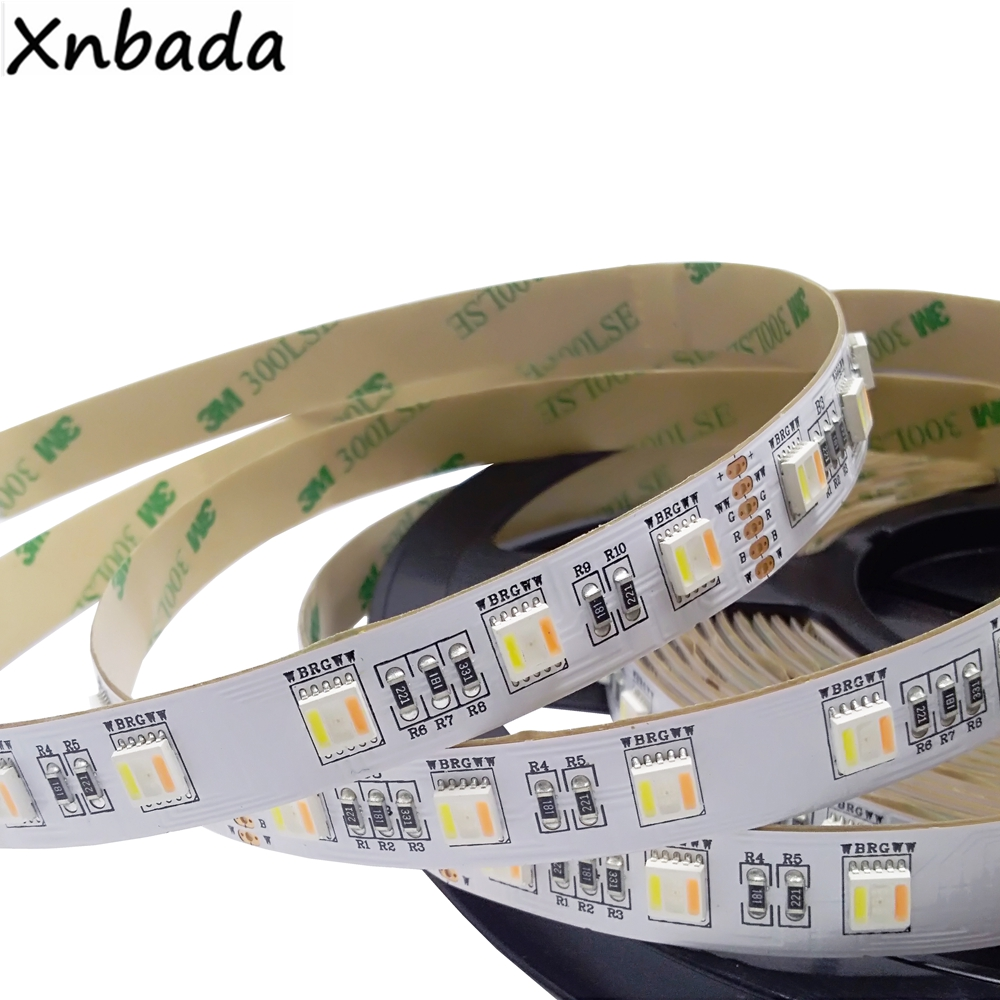 SMD5050 RGB + CCT (blanc + blanc chaud) Led bande lumineuse 60Led/m DC12V 24 V CW + RGB + WW puces Flexible Led bande 5 M/Lot